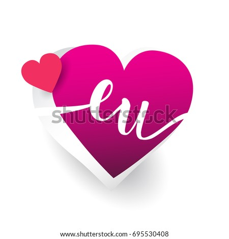 initial logo letter EU with heart shape red colored, logo design for wedding invitation, wedding name and business name.