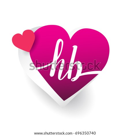 initial logo letter HB with heart shape red colored, logo design for wedding invitation, wedding name and business name.
