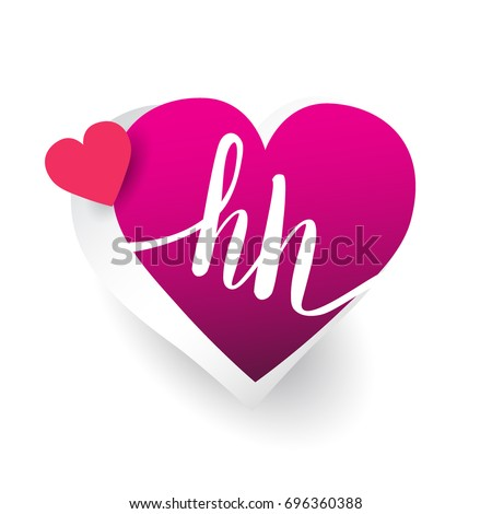 initial logo letter HH with heart shape red colored, logo design for wedding invitation, wedding name and business name.