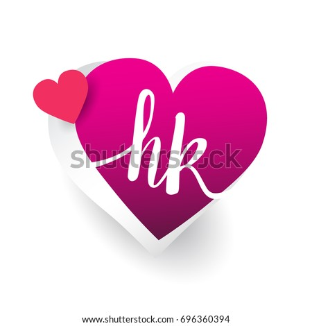 initial logo letter HK with heart shape red colored, logo design for wedding invitation, wedding name and business name
