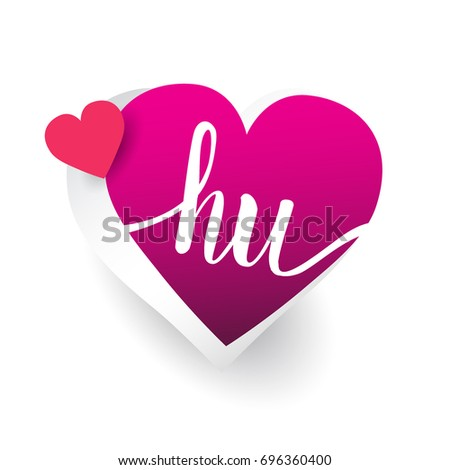 initial logo letter HU with heart shape red colored, logo design for wedding invitation, wedding name and business name.