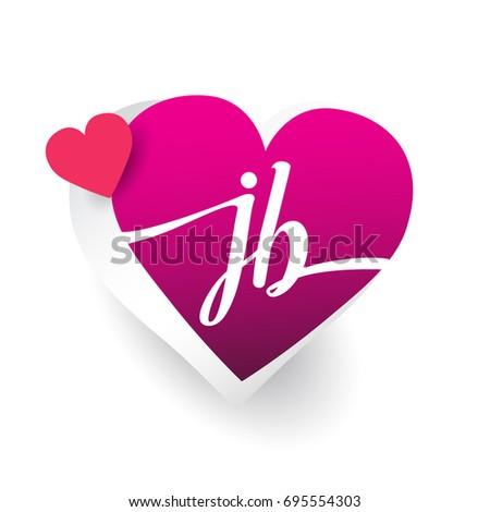 Initial logo letter jb heart shape stock vector 2018 695554303 initial logo letter jb with heart shape red colored logo design for wedding invitation stopboris Image collections