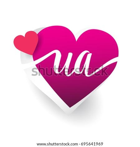 Initial logo letter ua heart shape stock vector 2018 695641969 initial logo letter ua with heart shape red colored logo design for wedding invitation stopboris Image collections