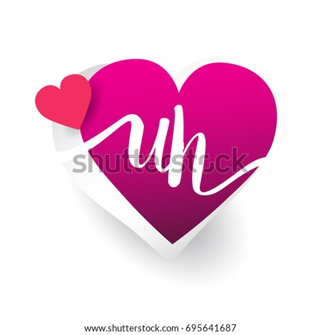 initial logo letter UH with heart shape red colored, logo design for wedding invitation, wedding name and business name.