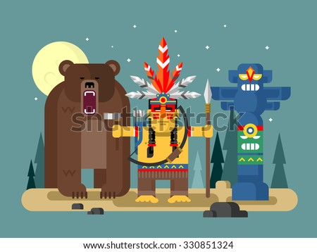 Injun character. Native american, feather and culture tribal, chief human, flat vector illustration - stock vector