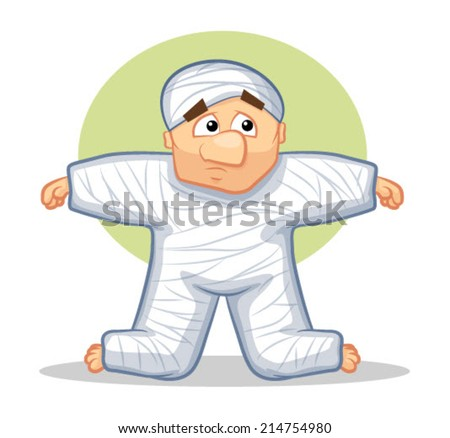 Injured Cartoon Man wearing a cast on his body/Body Cast Vector - stock vector