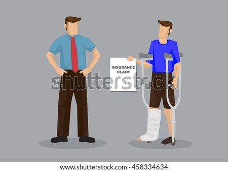 Injured employee with crutches and leg plaster cast showing employer medical insurance claim document. Cartoon vector illustration on medical insurance for work injury concept.