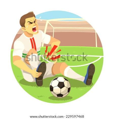 Injured Soccer Player Soccer player got injured on his foot. - stock vector