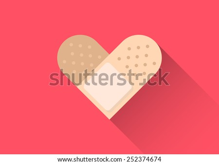 injury heart tape plaster conceptual flat design vector style - stock vector