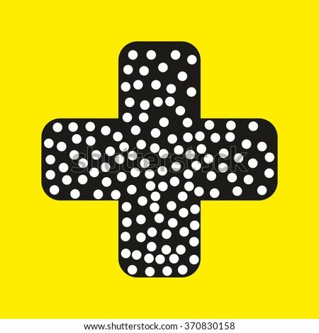 injury tape plaster flat design vector style on yellow surface - stock vector