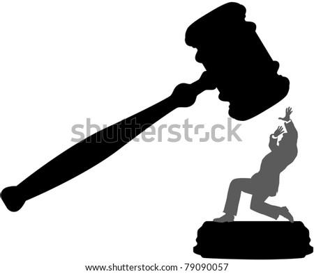 Injustice system court gavel hits person needing bail bond - stock vector