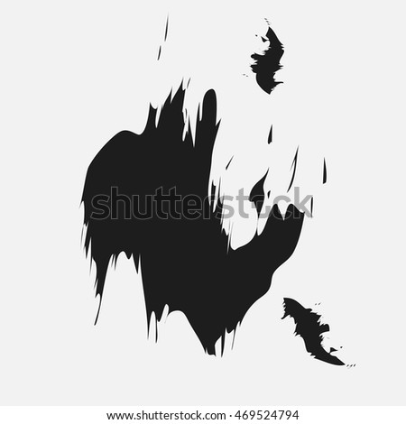 Ink black blot design Black spot of ink like a blob in the middle of a white sheet for design