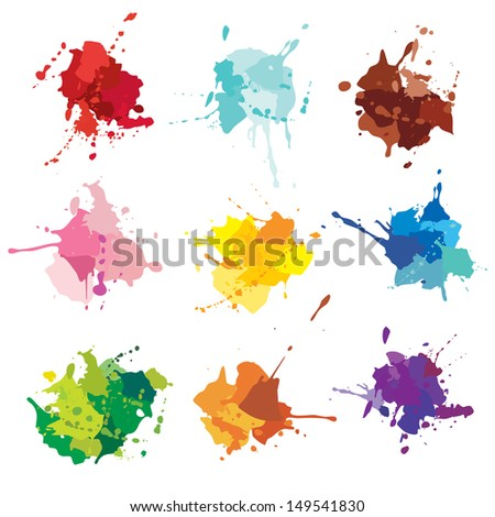 ink blots. paint stains - stock vector