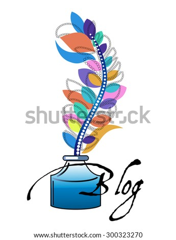 Ink Bottle with Feather pen Blog  concept  - stock vector