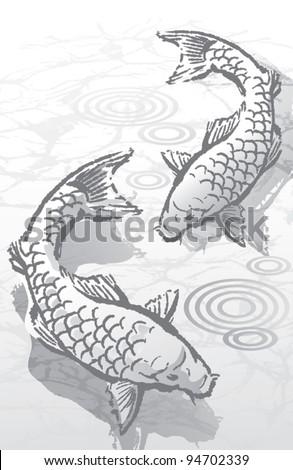 Ink Brush Koi Fish - stock vector