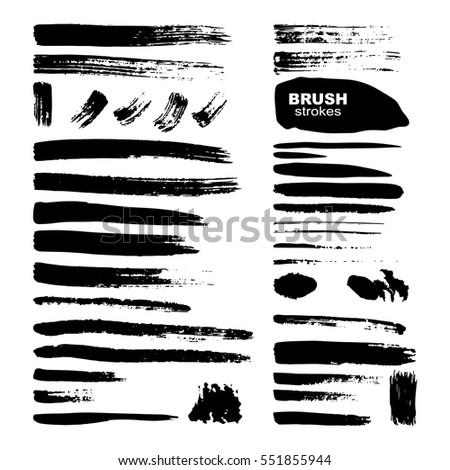 Ink brush strokes set isolated on white background. Grunge paint strips. Vector illustration.