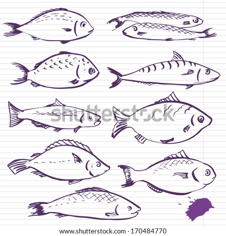 Ink drawing fishes, vector illustration - stock vector