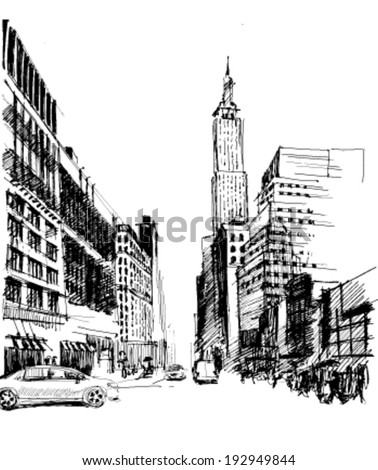 Ink drawing of an Avenue with set of skyscrapers in New York in vector - stock vector