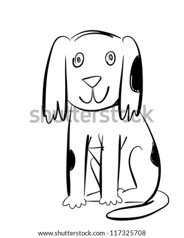 Ink Drawn Dog Character - stock vector