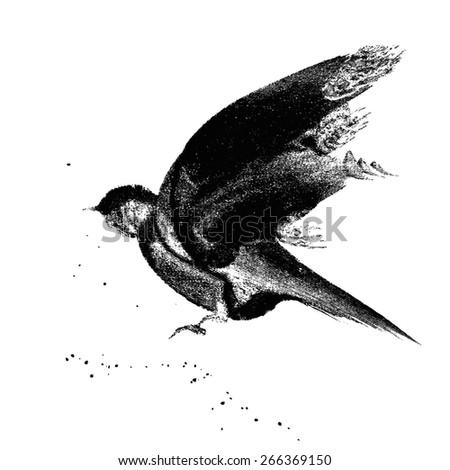Ink-drawn flying bird - stock vector