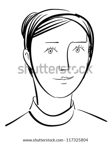 Ink Drawn Woman Character - stock vector