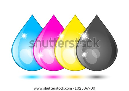 Ink drops icon. Vector - stock vector