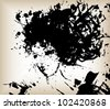 Ink Drops Portrait of a Young Woman (artistic portrait made of ink splashes and stains) - stock vector