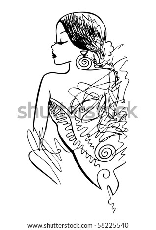 Ink fashion illustration created in a sketchy, loose style. Live traced and cleaned. - stock vector