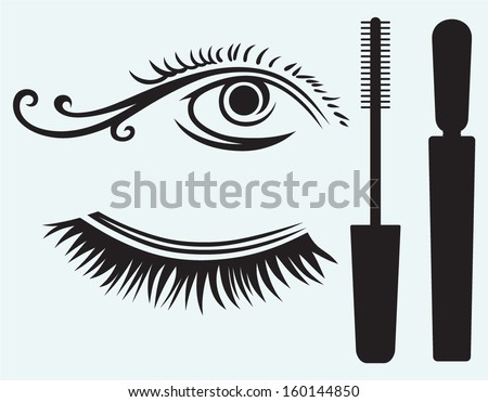 Ink for eyelashes and eye isolated on blue background - stock vector