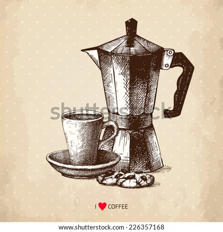 Ink hand drawn coffee pot and coffee cup  illustration on aged background. Vintage vector coffee illustration. I love coffee - stock vector
