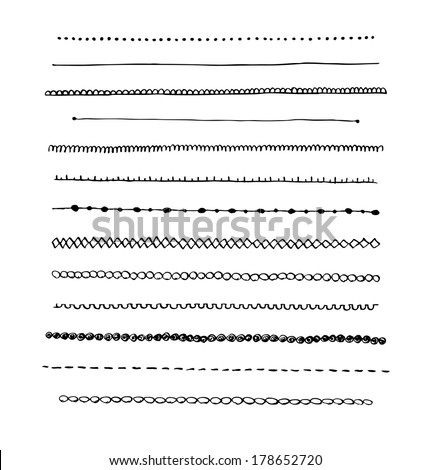 Ink hand-drawn vector line border set and scribble design element. - stock vector