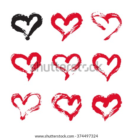 Ink hearts card. Set of 9 hand painted ink hearts. Graphic design element for web sites, stationary printables, fabric, scrapbooking, baby shower, wedding invitations, birthday cards etc. - stock vector