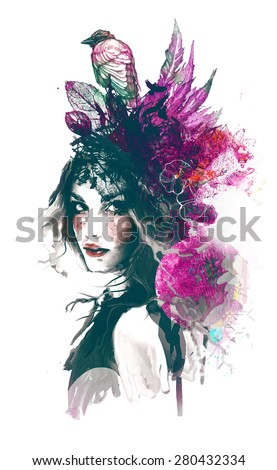 Ink illustration with painted girl, birds and leafs - stock vector