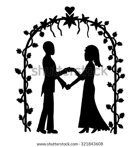 Ink image of couple getting married on outdoor wedding ceremony