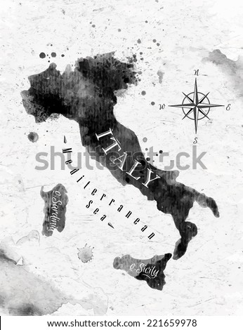 Ink Italy map in vector format black and white graphics in vintage style - stock vector