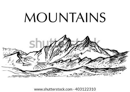 Ink pen drawn range of mountain - stock vector