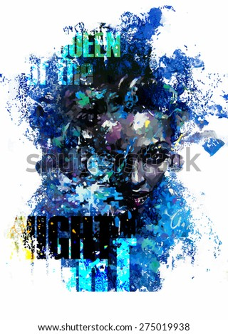 Ink print with girl and decorative paint blots with text elements - stock vector