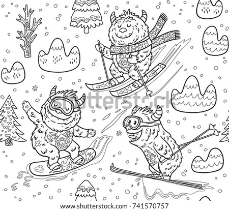 Ink Seamless Pattern With Fun Yeti Snowboarding And Skiing In The Mountain Cute Hand Drawn