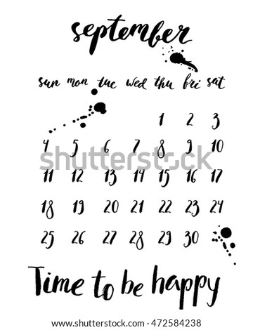 Ink september 2016 calendar with stains, week days, dates, numbers.