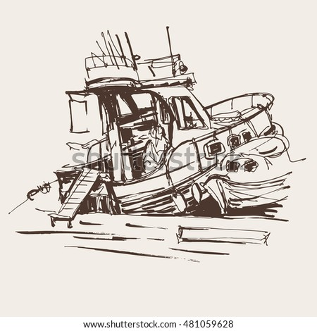 ink sketch drawing of boat in marine, travel  vector illustration