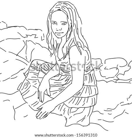 Ink sketch, lovely cute teen-girl. Vector illustration on white background. - stock vector