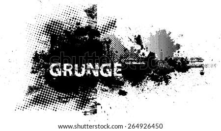 Ink Splash Background . Black Paint Splattered Shape . Grunge Background Texture . Vector Distress Background . Cracked Banner . Distress Texture . Grunge Texture . - stock vector