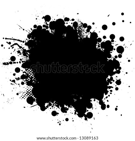 Ink splat in black with half tone pattern - stock vector