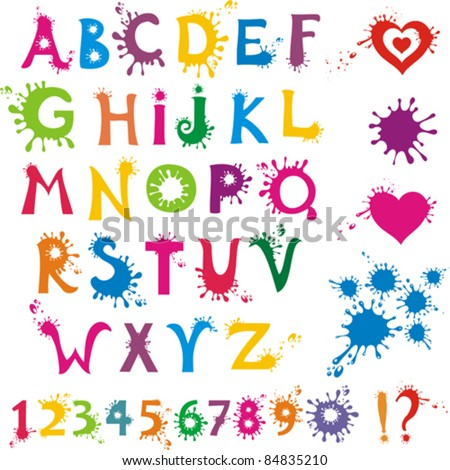 Ink Splatter Colorful Alphabet With Numbers. Vector Illustration - stock vector