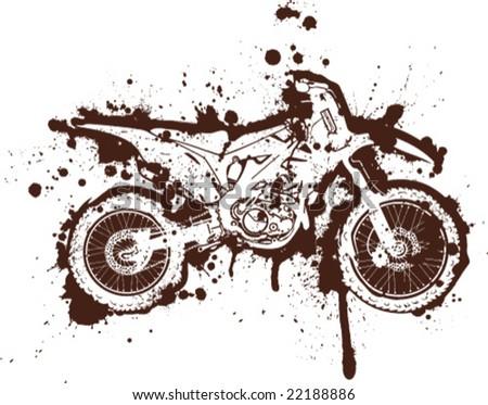 Ink Splatter Grunge Motorcross Artwork - stock vector