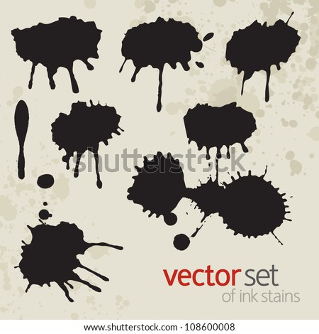 Ink stains, set 5 - stock vector