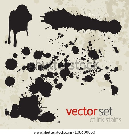 Ink stains, set 7 - stock vector