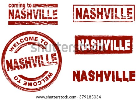 Ink stamp set city Nashville - stock vector