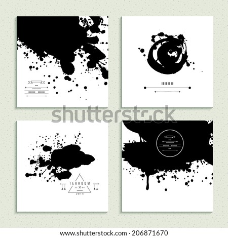 Inkblot collection. Set of four cards. Vector illustration. - stock vector