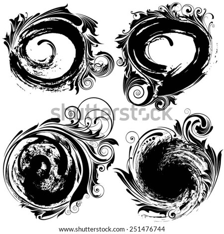 Inked circle brush floral - stock vector
